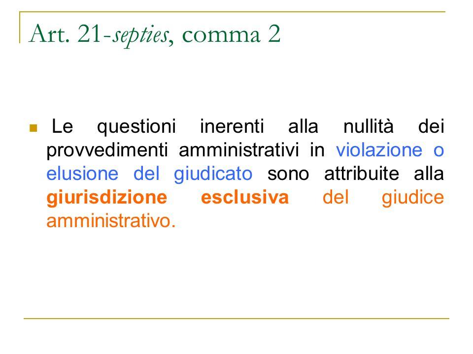 Art. 21-septies, comma 2 Le questioni inerenti alla nullità dei provvedimenti amministrativi in violazione o elusione del giudicato sono attribuite al