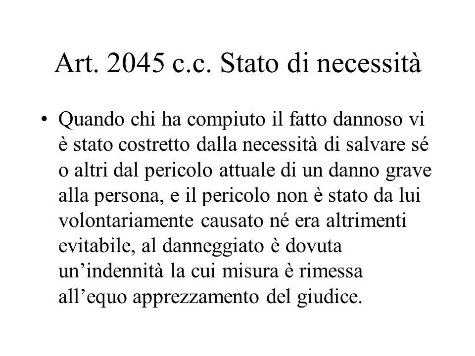 Art. 2045 c.c. Stato di necessità Quando chi ha compiuto il fatto dannoso vi è stato costretto dalla necessità di salvare sé o altri dal pericolo attu