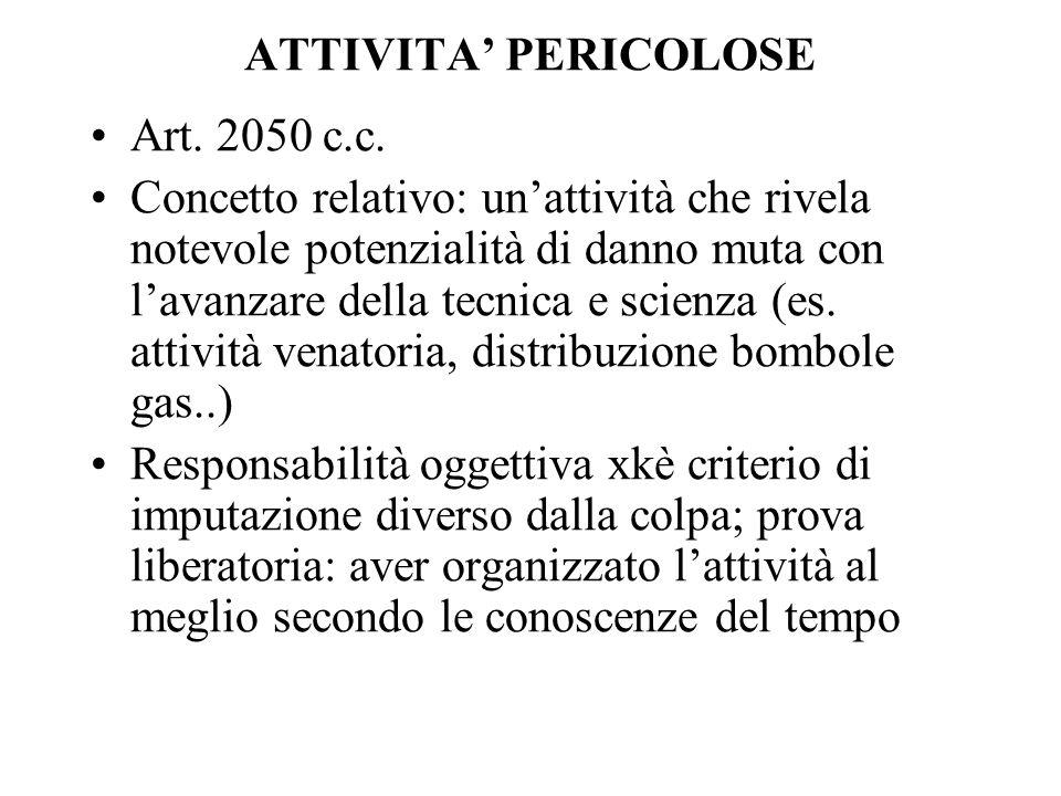 ATTIVITA PERICOLOSE Art. 2050 c.c. Concetto relativo: unattività che rivela notevole potenzialità di danno muta con lavanzare della tecnica e scienza