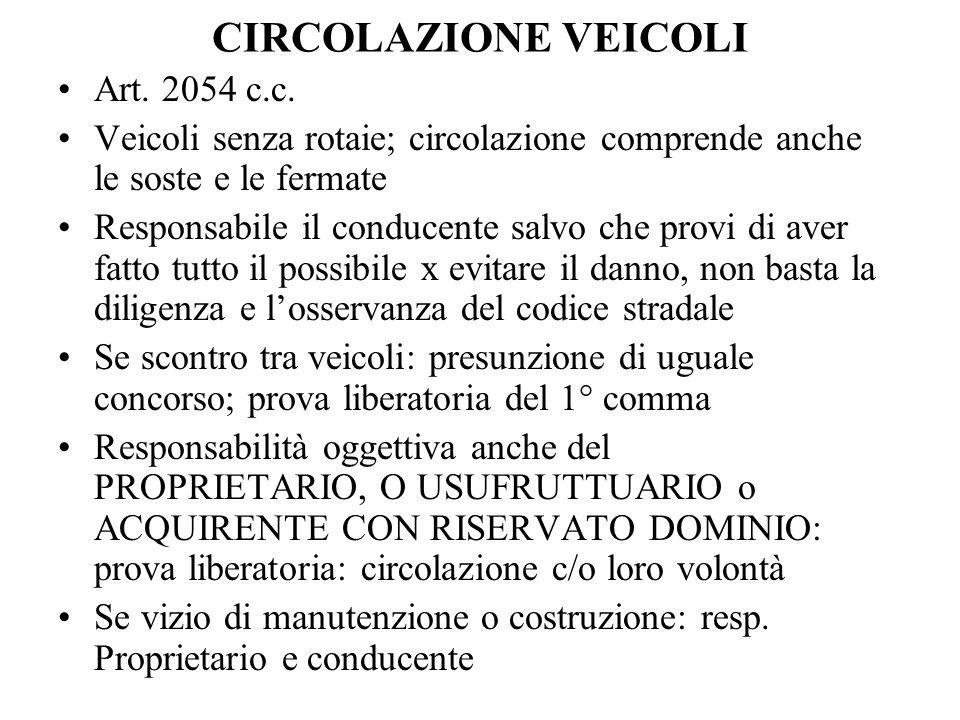 CIRCOLAZIONE VEICOLI Art. 2054 c.c. Veicoli senza rotaie; circolazione comprende anche le soste e le fermate Responsabile il conducente salvo che prov