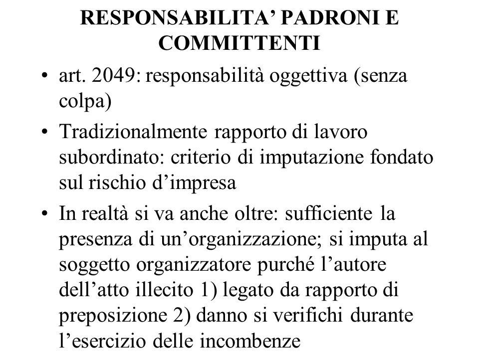 RESPONSABILITA PADRONI E COMMITTENTI art. 2049: responsabilità oggettiva (senza colpa) Tradizionalmente rapporto di lavoro subordinato: criterio di im