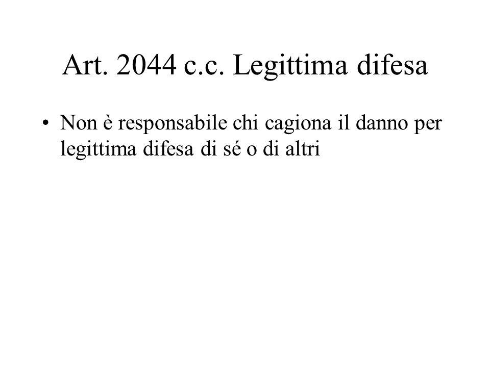 Art. 2044 c.c. Legittima difesa Non è responsabile chi cagiona il danno per legittima difesa di sé o di altri