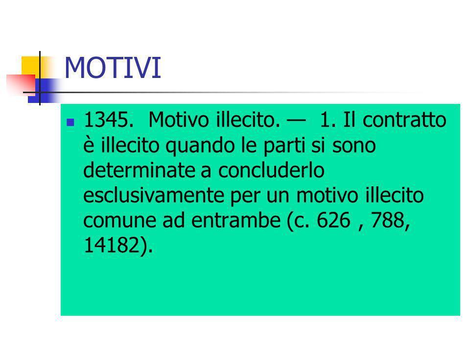 MOTIVI 1345. Motivo illecito. 1. Il contratto è illecito quando le parti si sono determinate a concluderlo esclusivamente per un motivo illecito comun