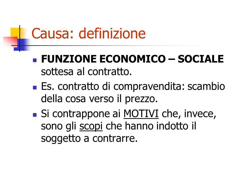 Causa: definizione FUNZIONE ECONOMICO – SOCIALE sottesa al contratto. Es. contratto di compravendita: scambio della cosa verso il prezzo. Si contrappo