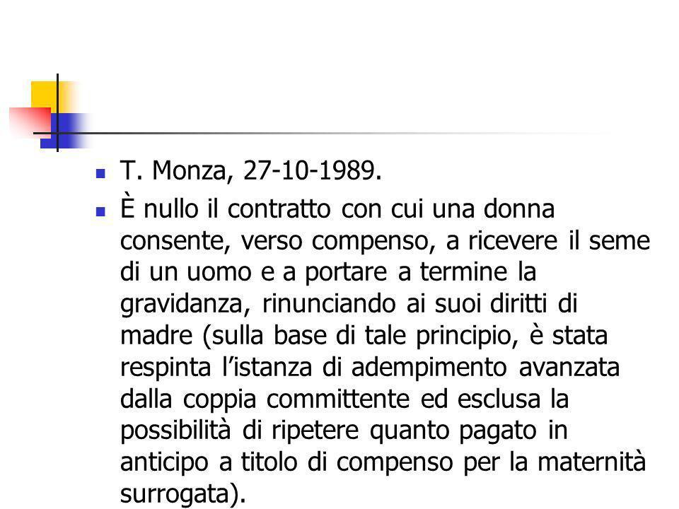 T. Monza, 27-10-1989. È nullo il contratto con cui una donna consente, verso compenso, a ricevere il seme di un uomo e a portare a termine la gravidan