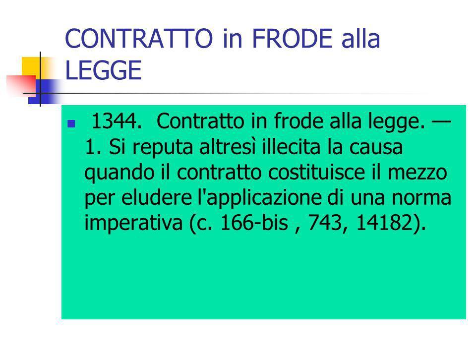 CONTRATTO in FRODE alla LEGGE 1344. Contratto in frode alla legge. 1. Si reputa altresì illecita la causa quando il contratto costituisce il mezzo per
