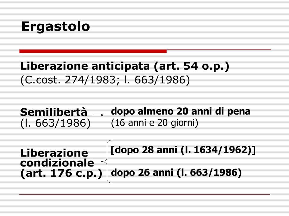Ergastolo Liberazione anticipata (art. 54 o.p.) (C.cost.