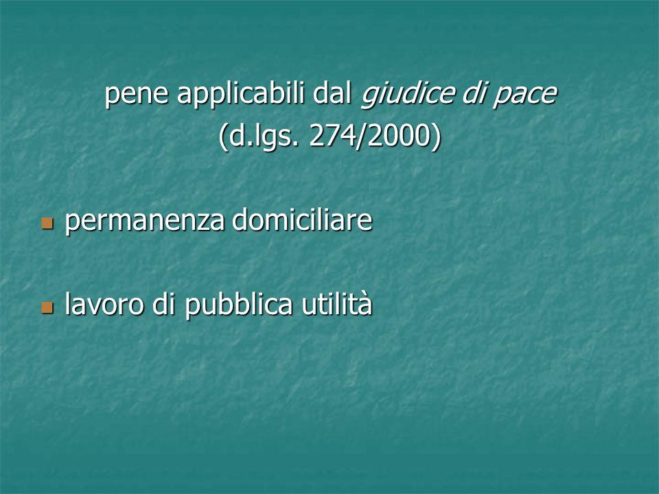 pene applicabili dal giudice di pace (d.lgs. 274/2000) permanenza domiciliare permanenza domiciliare lavoro di pubblica utilità lavoro di pubblica uti