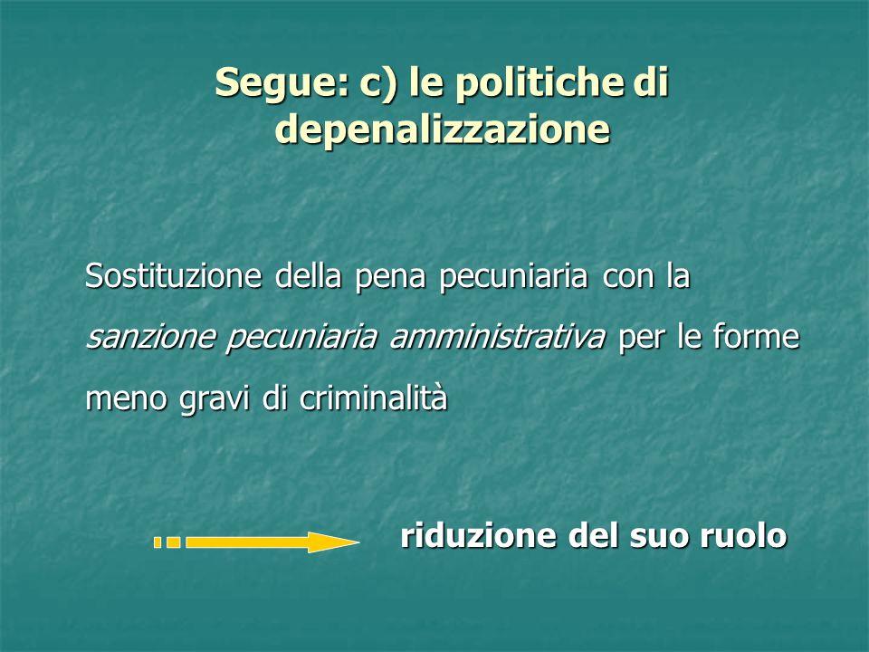 Segue: c) le politiche di depenalizzazione Sostituzione della pena pecuniaria con la sanzione pecuniaria amministrativa per le forme meno gravi di criminalità riduzione del suo ruolo