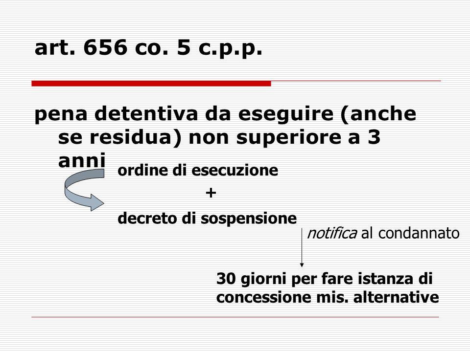 art. 656 co. 5 c.p.p. pena detentiva da eseguire (anche se residua) non superiore a 3 anni ordine di esecuzione + decreto di sospensione 30 giorni per
