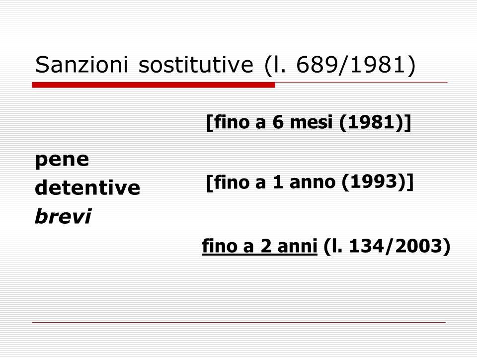 Sanzioni sostitutive (l. 689/1981) pene detentive brevi [fino a 6 mesi (1981)] [fino a 1 anno (1993)] fino a 2 anni (l. 134/2003)