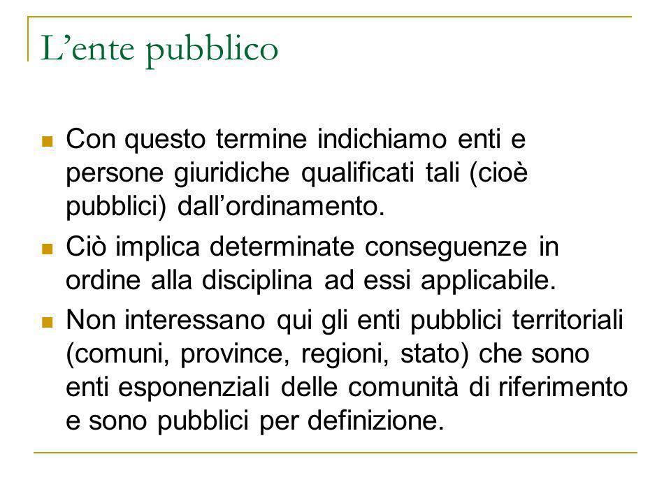 Lente pubblico Con questo termine indichiamo enti e persone giuridiche qualificati tali (cioè pubblici) dallordinamento. Ciò implica determinate conse