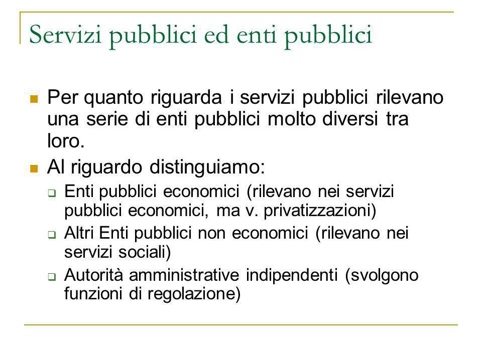 Servizi pubblici ed enti pubblici Per quanto riguarda i servizi pubblici rilevano una serie di enti pubblici molto diversi tra loro. Al riguardo disti