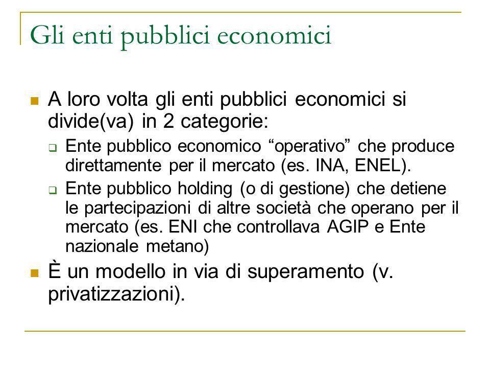 Gli enti pubblici economici A loro volta gli enti pubblici economici si divide(va) in 2 categorie: Ente pubblico economico operativo che produce diret
