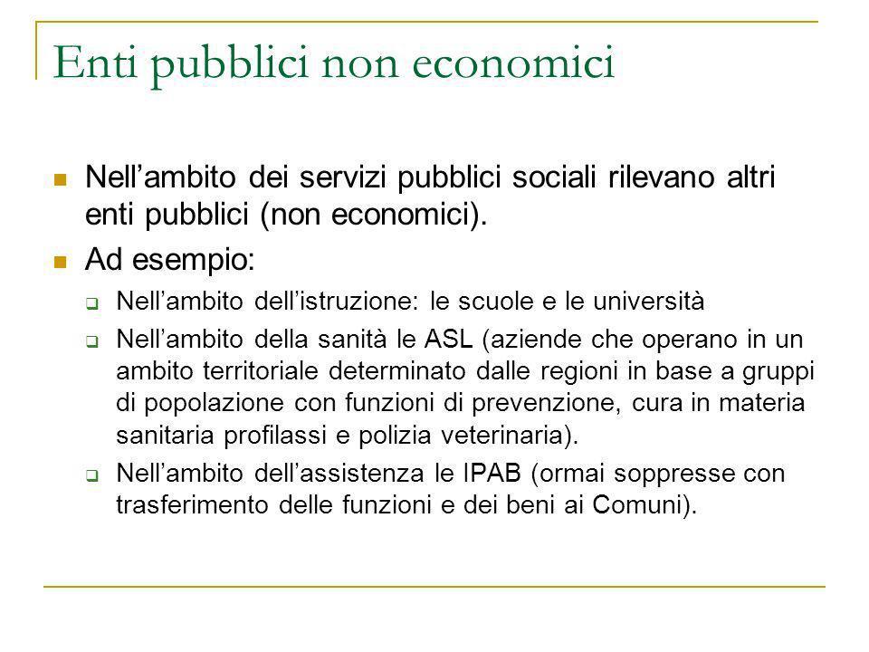 Enti pubblici non economici Nellambito dei servizi pubblici sociali rilevano altri enti pubblici (non economici). Ad esempio: Nellambito dellistruzion