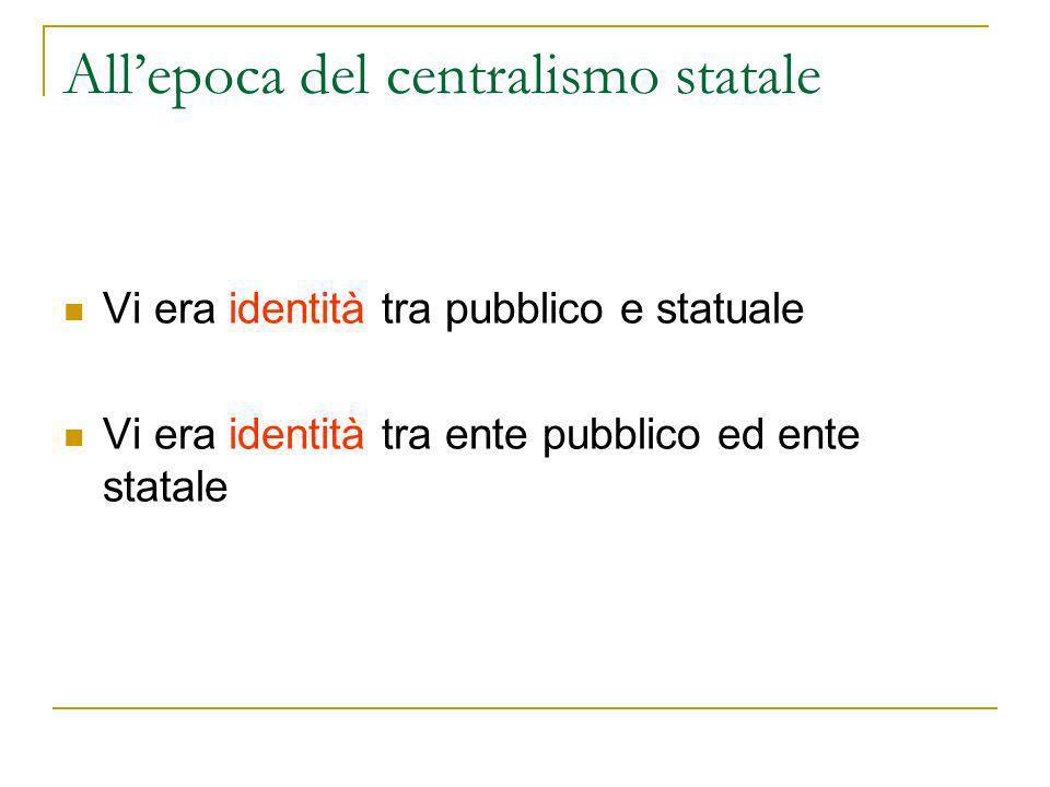 Vi era identità tra pubblico e statuale Vi era identità tra ente pubblico ed ente statale Allepoca del centralismo statale