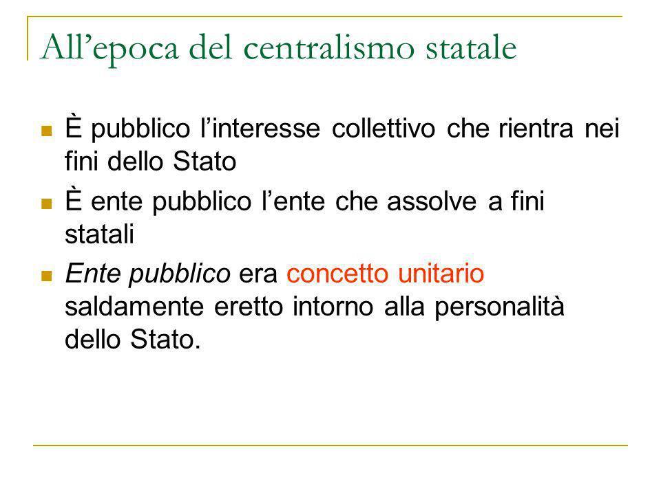 È pubblico linteresse collettivo che rientra nei fini dello Stato È ente pubblico lente che assolve a fini statali Ente pubblico era concetto unitario