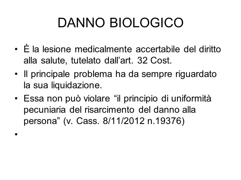 DANNO BIOLOGICO È la lesione medicalmente accertabile del diritto alla salute, tutelato dallart.