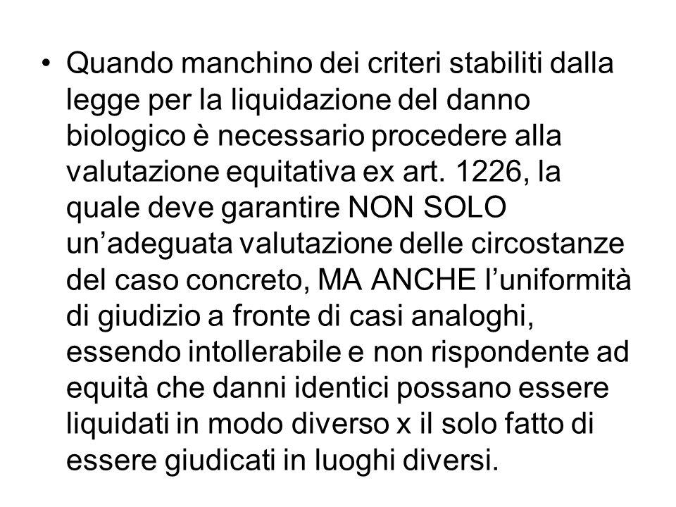 Quando manchino dei criteri stabiliti dalla legge per la liquidazione del danno biologico è necessario procedere alla valutazione equitativa ex art.