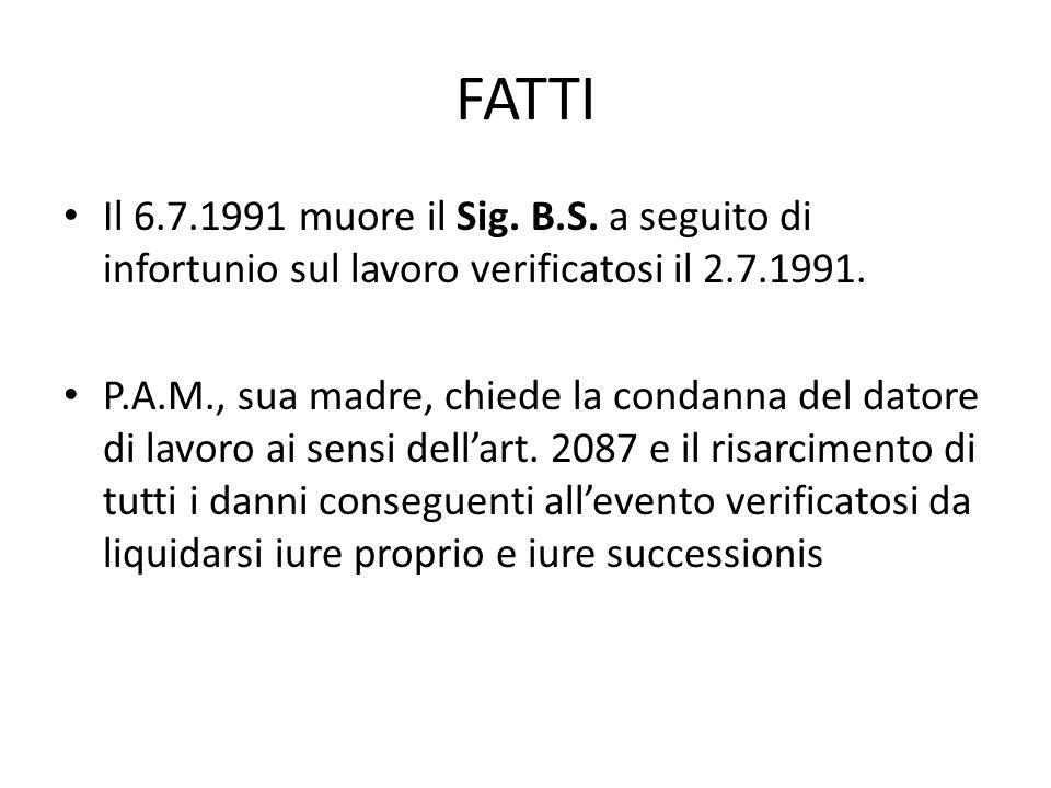 FATTI Il 6.7.1991 muore il Sig. B.S. a seguito di infortunio sul lavoro verificatosi il 2.7.1991.