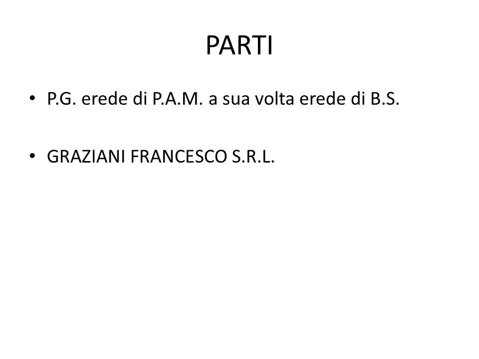PARTI P.G. erede di P.A.M. a sua volta erede di B.S. GRAZIANI FRANCESCO S.R.L.