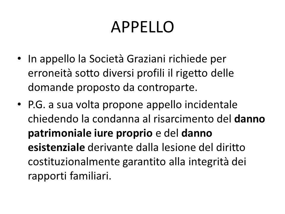APPELLO In appello la Società Graziani richiede per erroneità sotto diversi profili il rigetto delle domande proposto da controparte.