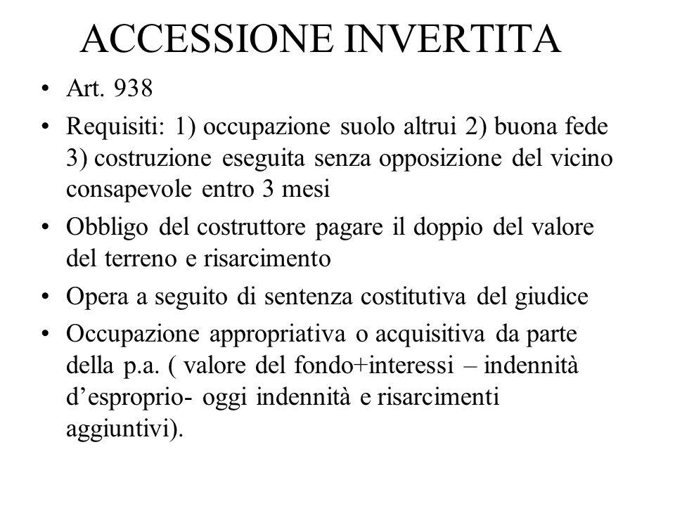 ACCESSIONE INVERTITA Art. 938 Requisiti: 1) occupazione suolo altrui 2) buona fede 3) costruzione eseguita senza opposizione del vicino consapevole en