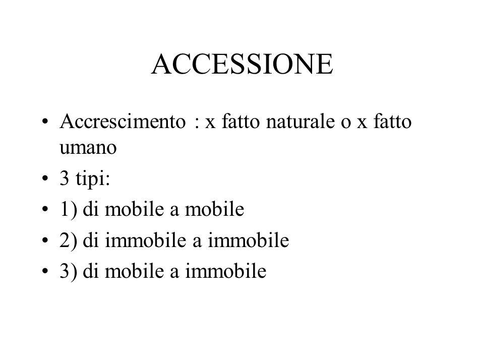 ACCESSIONE Accrescimento : x fatto naturale o x fatto umano 3 tipi: 1) di mobile a mobile 2) di immobile a immobile 3) di mobile a immobile