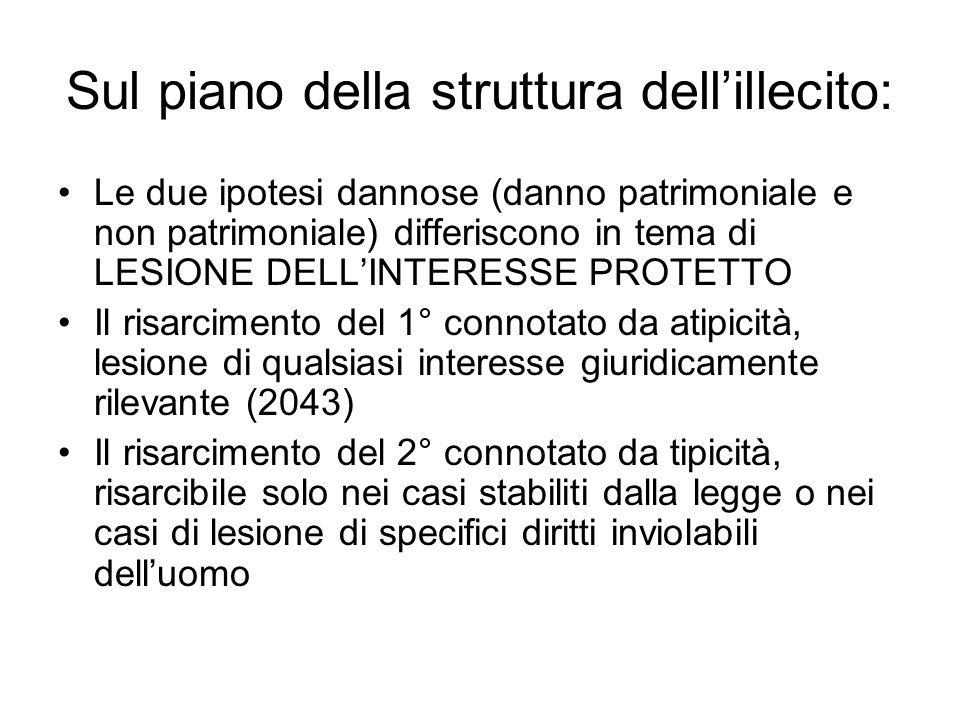 Sul piano della struttura dellillecito: Le due ipotesi dannose (danno patrimoniale e non patrimoniale) differiscono in tema di LESIONE DELLINTERESSE P