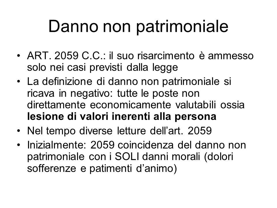 Danno non patrimoniale ART. 2059 C.C.: il suo risarcimento è ammesso solo nei casi previsti dalla legge La definizione di danno non patrimoniale si ri