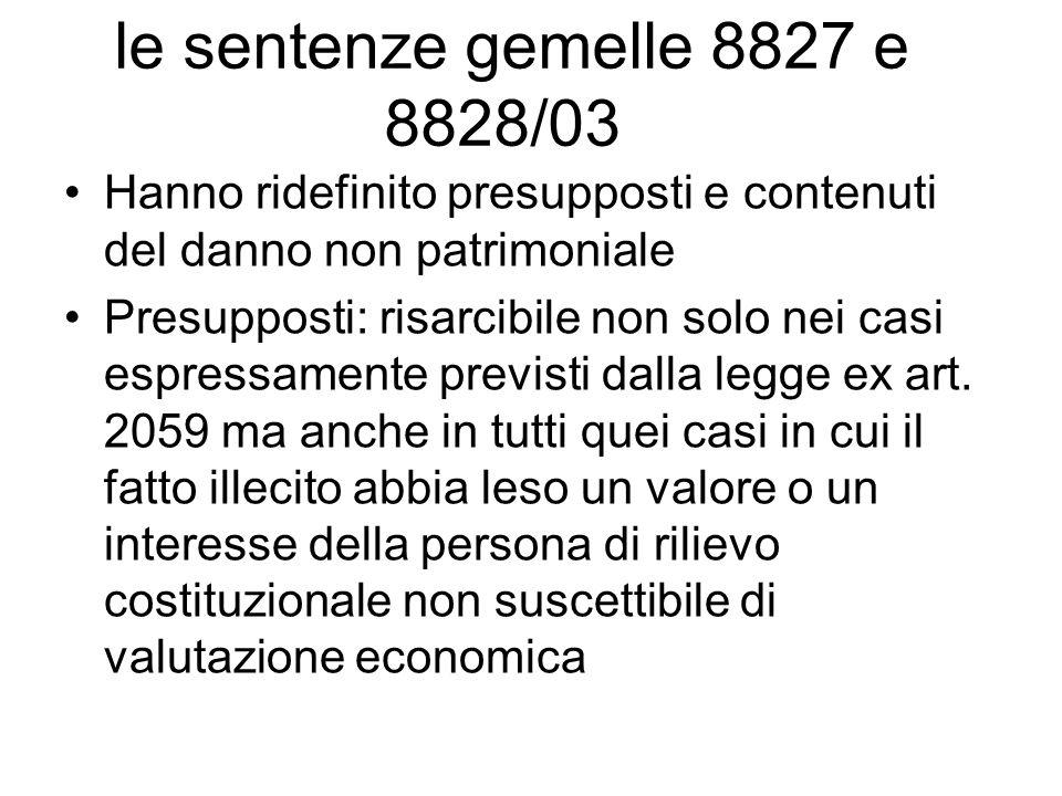 le sentenze gemelle 8827 e 8828/03 Hanno ridefinito presupposti e contenuti del danno non patrimoniale Presupposti: risarcibile non solo nei casi espr
