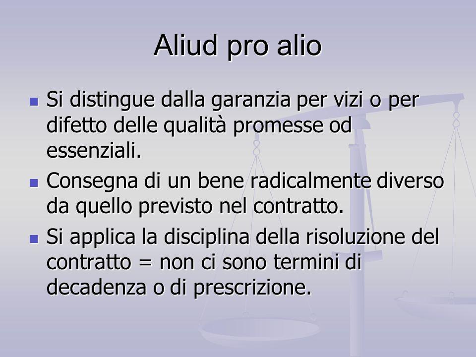 Aliud pro alio Si distingue dalla garanzia per vizi o per difetto delle qualità promesse od essenziali. Si distingue dalla garanzia per vizi o per dif