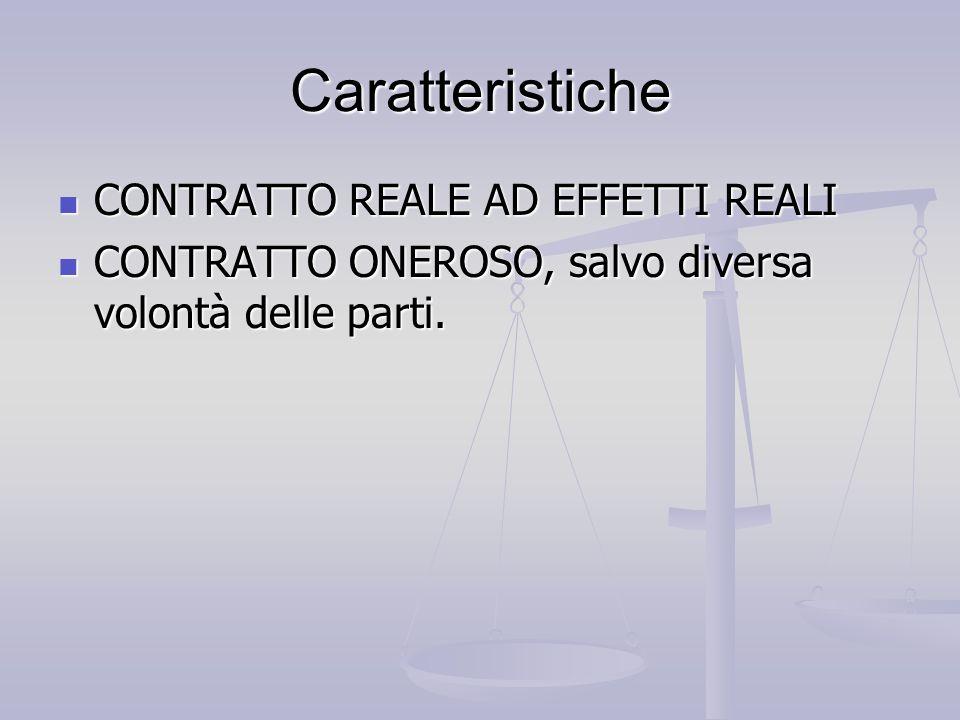Caratteristiche CONTRATTO REALE AD EFFETTI REALI CONTRATTO REALE AD EFFETTI REALI CONTRATTO ONEROSO, salvo diversa volontà delle parti. CONTRATTO ONER