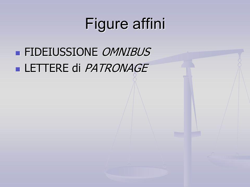Figure affini FIDEIUSSIONE OMNIBUS FIDEIUSSIONE OMNIBUS LETTERE di PATRONAGE LETTERE di PATRONAGE