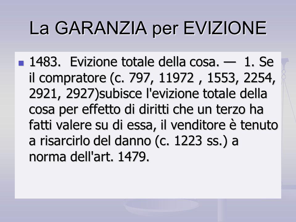 La GARANZIA per EVIZIONE 1483. Evizione totale della cosa. 1. Se il compratore (c. 797, 11972, 1553, 2254, 2921, 2927)subisce l'evizione totale della