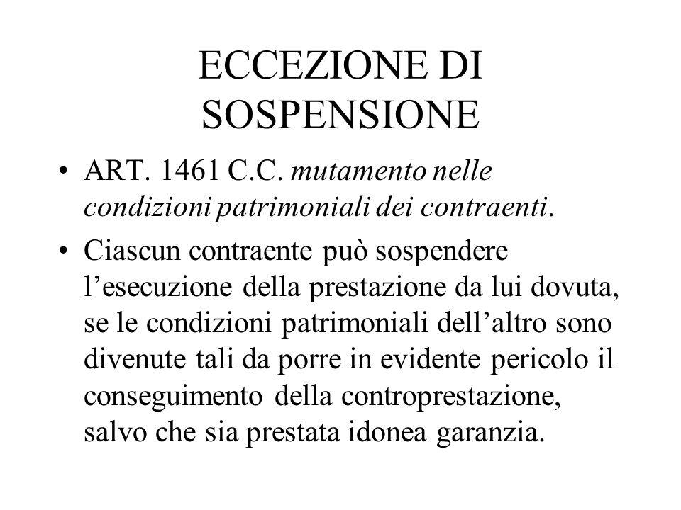 ECCEZIONE DI SOSPENSIONE ART. 1461 C.C. mutamento nelle condizioni patrimoniali dei contraenti. Ciascun contraente può sospendere lesecuzione della pr