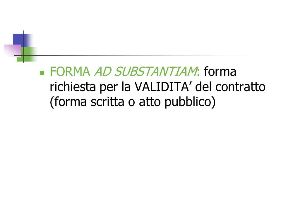 FORMA AD SUBSTANTIAM: forma richiesta per la VALIDITA del contratto (forma scritta o atto pubblico)