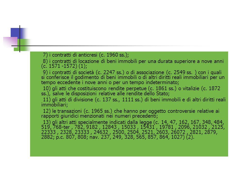 7) i contratti di anticresi (c. 1960 ss.); 8) i contratti di locazione di beni immobili per una durata superiore a nove anni (c. 1571 -1572) (1); 9) i