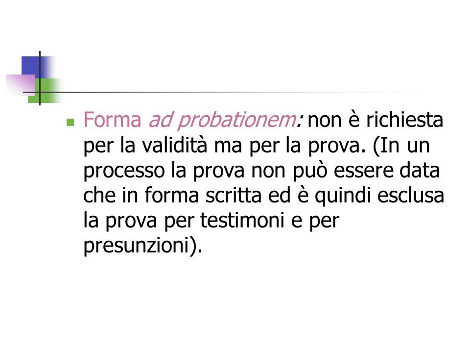 Forma ad probationem: non è richiesta per la validità ma per la prova. (In un processo la prova non può essere data che in forma scritta ed è quindi e