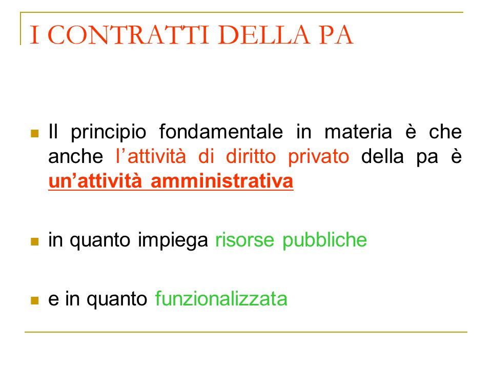 I CONTRATTI DELLA PA Il principio fondamentale in materia è che anche lattività di diritto privato della pa è unattività amministrativa in quanto impiega risorse pubbliche e in quanto funzionalizzata