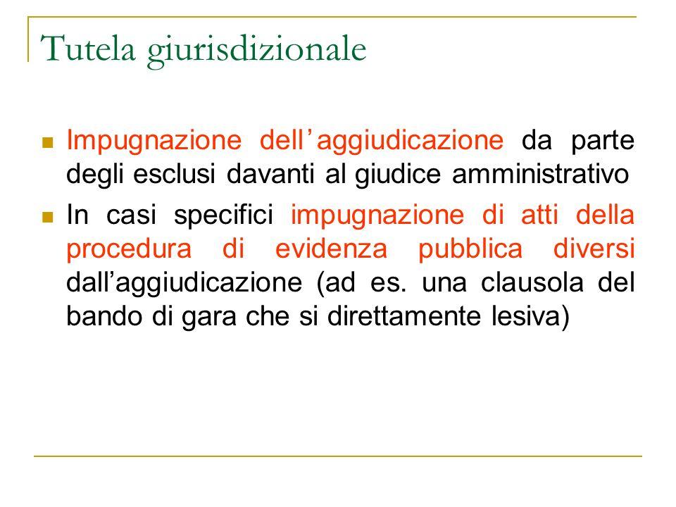 Tutela giurisdizionale Impugnazione dellaggiudicazione da parte degli esclusi davanti al giudice amministrativo In casi specifici impugnazione di atti della procedura di evidenza pubblica diversi dallaggiudicazione (ad es.