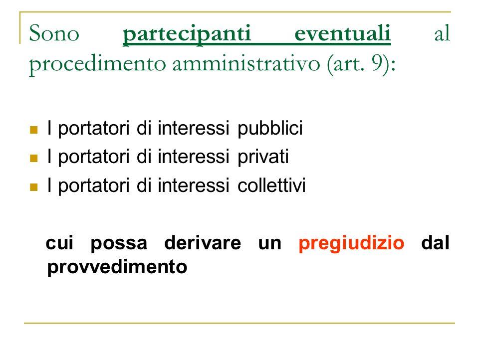 Sono partecipanti eventuali al procedimento amministrativo (art. 9): I portatori di interessi pubblici I portatori di interessi privati I portatori di