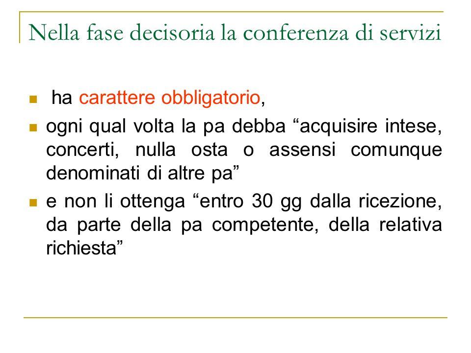Nella fase decisoria la conferenza di servizi ha carattere obbligatorio, ogni qual volta la pa debba acquisire intese, concerti, nulla osta o assensi