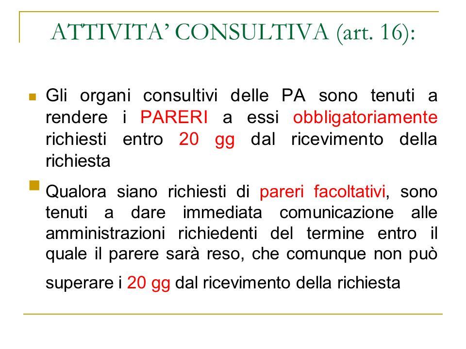 ATTIVITA CONSULTIVA (art. 16): Gli organi consultivi delle PA sono tenuti a rendere i PARERI a essi obbligatoriamente richiesti entro 20 gg dal ricevi