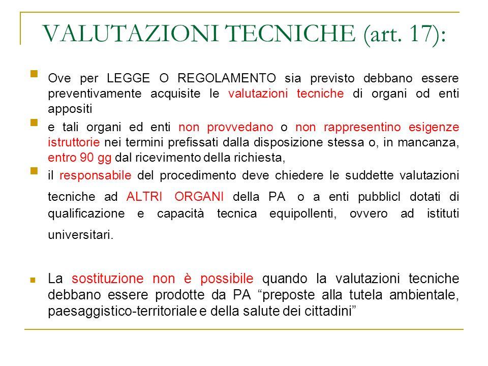 VALUTAZIONI TECNICHE (art. 17): Ove per LEGGE O REGOLAMENTO sia previsto debbano essere preventivamente acquisite le valutazioni tecniche di organi od