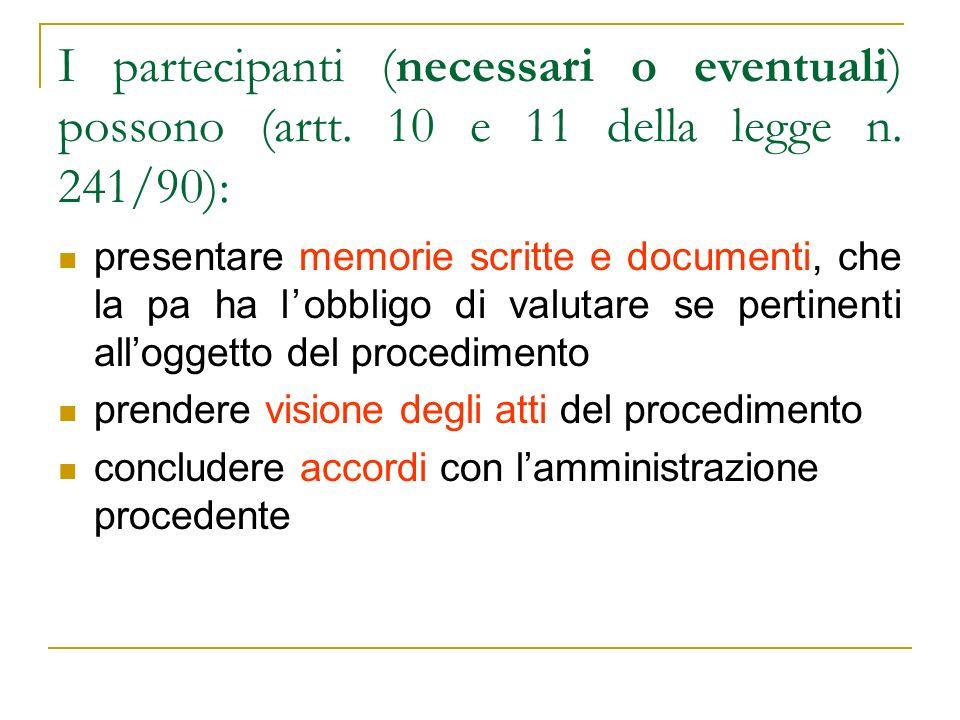 I partecipanti (necessari o eventuali) possono (artt. 10 e 11 della legge n. 241/90): presentare memorie scritte e documenti, che la pa ha lobbligo di