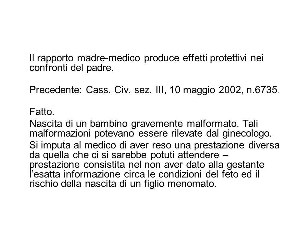 Il rapporto madre-medico produce effetti protettivi nei confronti del padre. Precedente: Cass. Civ. sez. III, 10 maggio 2002, n.6735. Fatto. Nascita d
