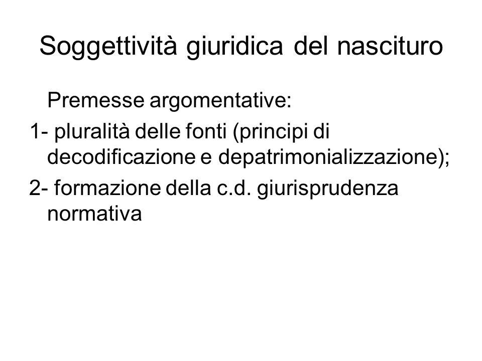Soggettività giuridica del nascituro Premesse argomentative: 1- pluralità delle fonti (principi di decodificazione e depatrimonializzazione); 2- forma