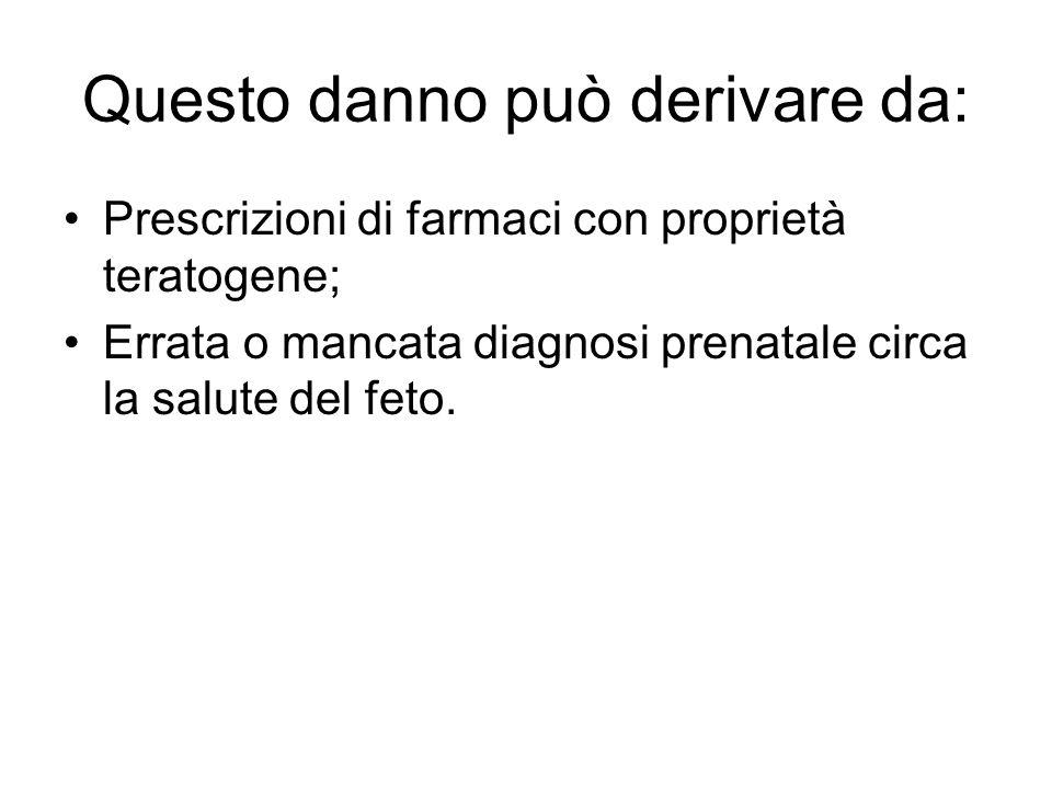 Questo danno può derivare da: Prescrizioni di farmaci con proprietà teratogene; Errata o mancata diagnosi prenatale circa la salute del feto.