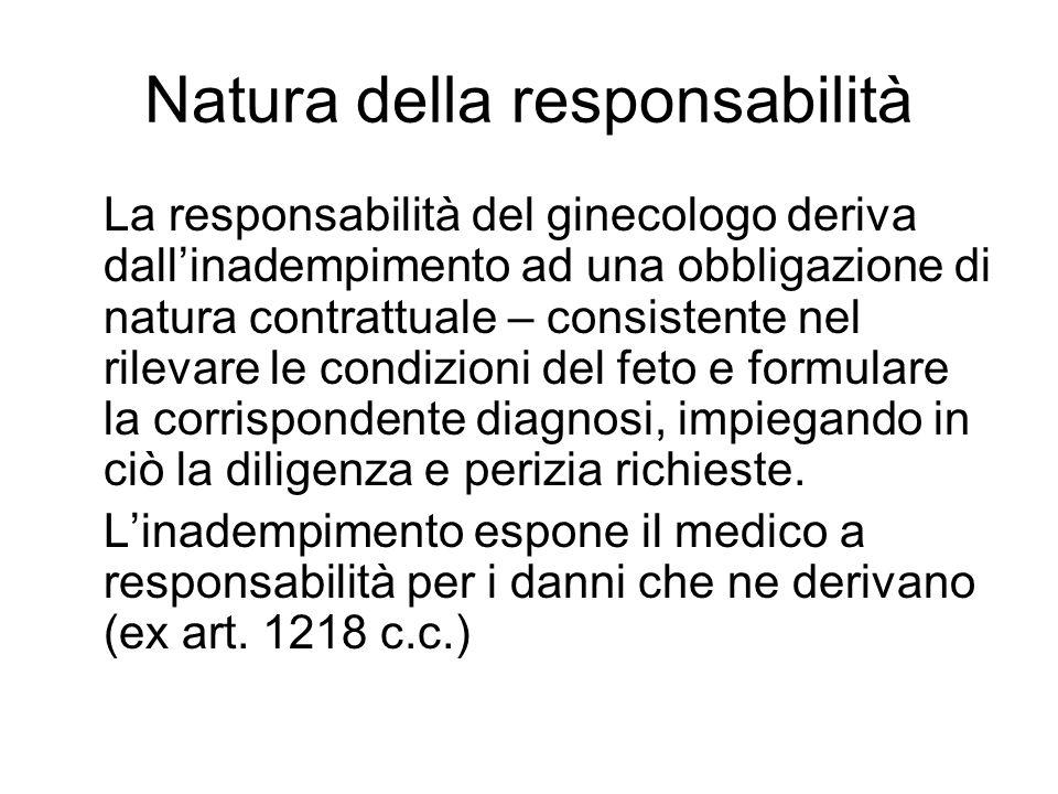 Natura della responsabilità La responsabilità del ginecologo deriva dallinadempimento ad una obbligazione di natura contrattuale – consistente nel ril